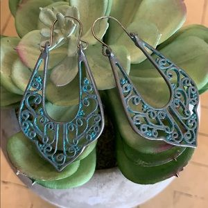 BOGO! Silver Turquoise Antique Filagree Earrings